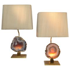 Pair of large Willy Daro Bronze and Agate Table Lamps