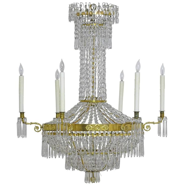 Antique Swedish Gustavian / Empire Crystal Chandelier with Ten Lights, ca.  1810 1 - Antique Swedish Gustavian / Empire Crystal Chandelier With Ten