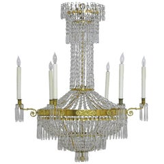 Antique Swedish Gustavian / Empire Crystal Chandelier with Ten Lights, ca. 1810