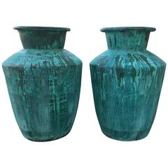 Large Pair of Architectural Copper Jardinieres