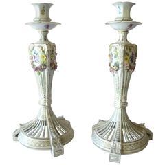 Dresden Porcelaine Biedermeier Style CandelHolders, 20th Century
