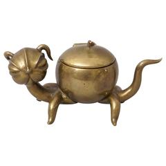 "Art Deco Brass Hagenauer ""Cat"" Inkwell"