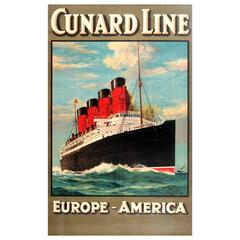 Original 1920s Cunard Line Cruise Ship Travel Advertising Poster Europe-America