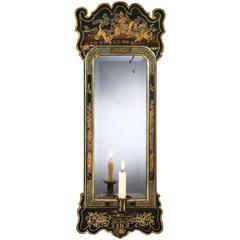 George I Blue Japanned Mirror Girandole, 4446731