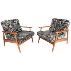 Pair of Mid-Century Modern Danish Lounge Chairs