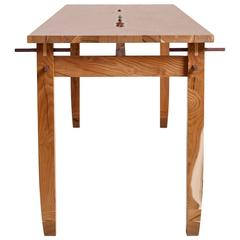 Contemporary Hardwood Mulberry Pegged Dining Table or Desk in Stock