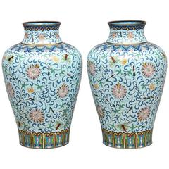 Pair of 19th Century Chinese Cloisonné Enamel Vases