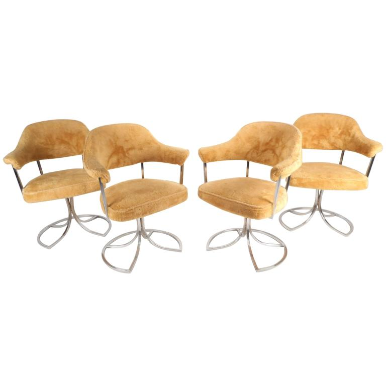 Stylish Mid Century Modern Swivel Tulip Chairs By Cal Style Furniture For  Sale