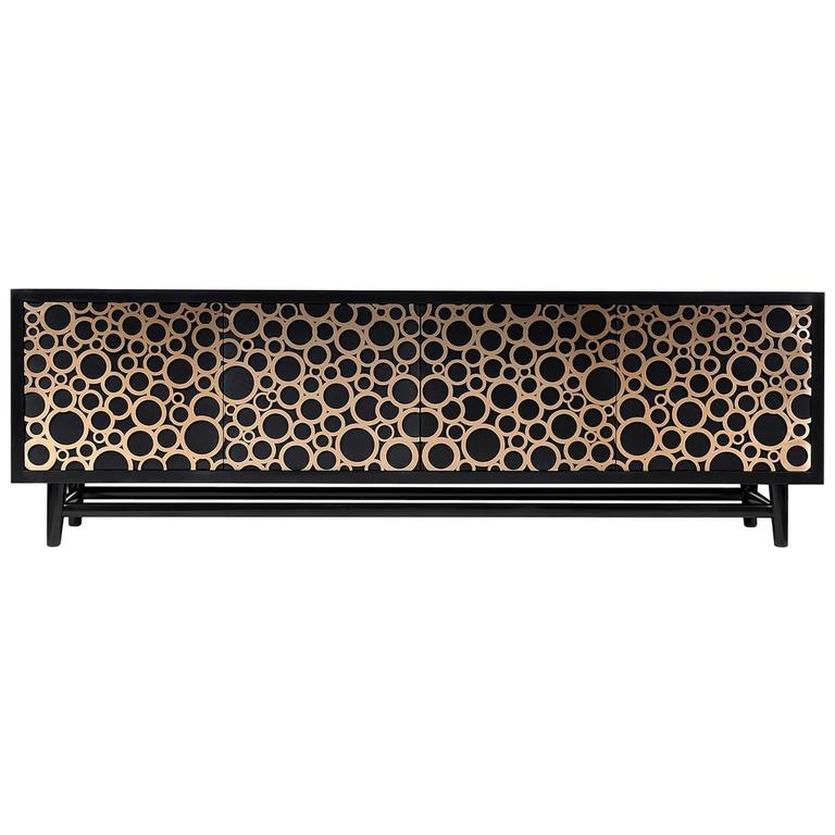 Interlocking Sideboard in Bronze and Satin Black Lacquer by Newell Design