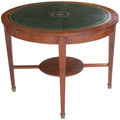 French 19th Century Round Leather Top Mahogany Table