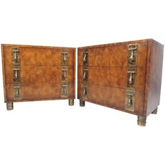 Pair of Mid-Century Brass and Burl Wood Dressers by Mastercraft