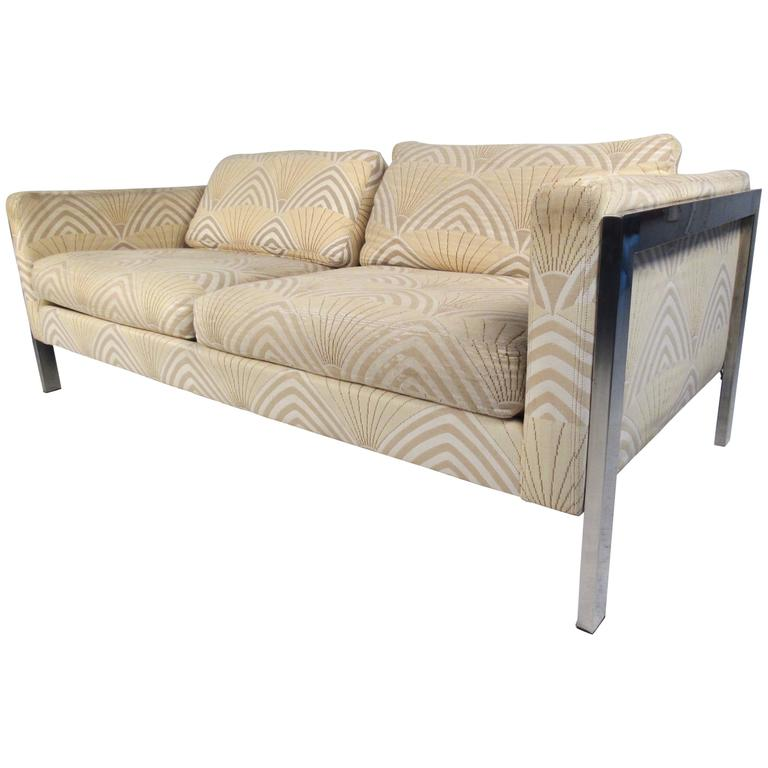 Mid-Century Modern Chrome and Fabric Sofa After Milo Baughman