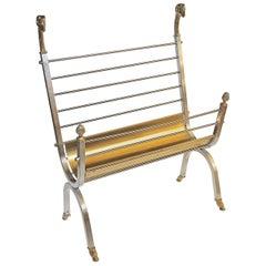 Jansen Style Italian Steel Brass Rams Head Magazine Rack