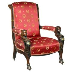 Carved Mahogany Egyptian Revival Armchair, New York, circa 1860, Herter Brothers