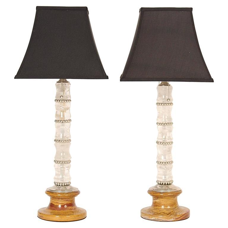Pair of Rock Crystal and Marble Table Lamps For Sale
