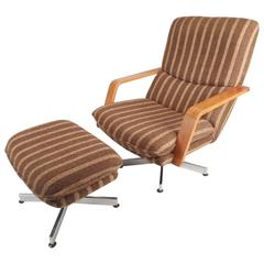 Mid-Century Modern Teak and Chrome Swivel Lounge Chair with Ottoman
