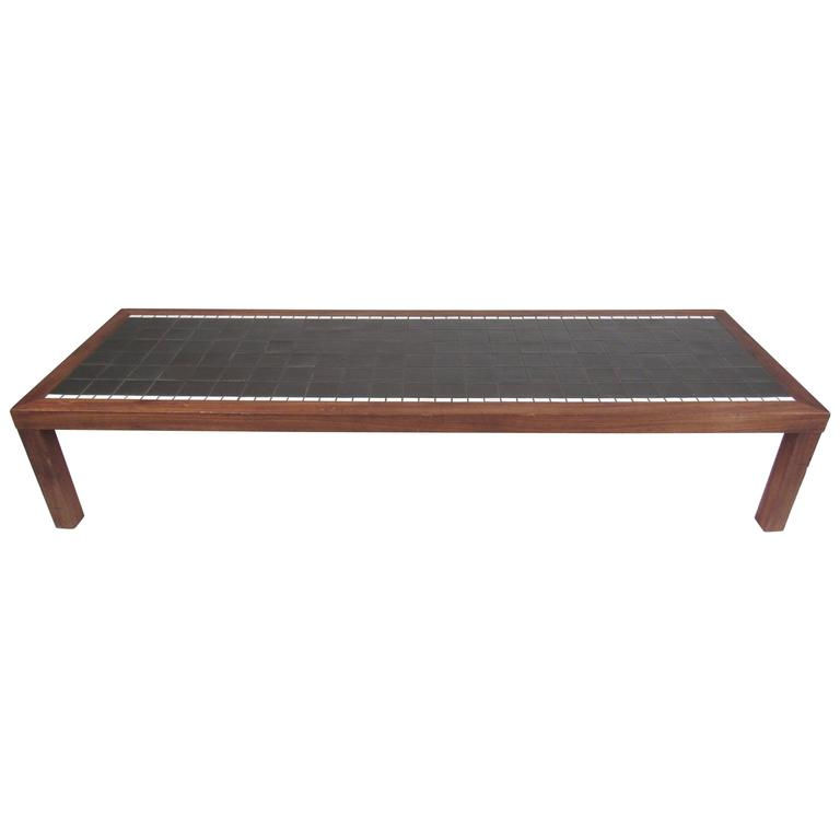 Long and Low Mid-Century Mosaic Tile Coffee Table by Gordon and Jane Martz