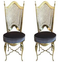 Pair of Polished Brass Italian Side Chairs