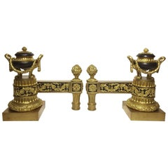 Fine Pair of French 19th Century Louis XVI Chenets, Andirons by Bouhon et Cie
