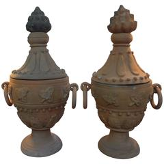 Pair of Neoclassical Style Terra Cotta Urns