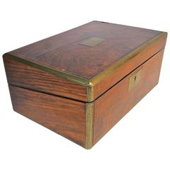 English 19th Century Rosewood and Brass Writing Box