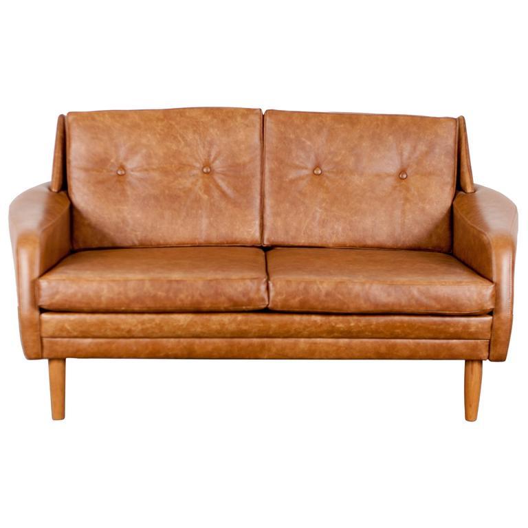 Danish Mid Century Brown Leather Loveseat At 1stdibs