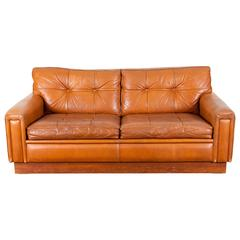 Mid-Century Brown Leather Sofa by Arne Norell