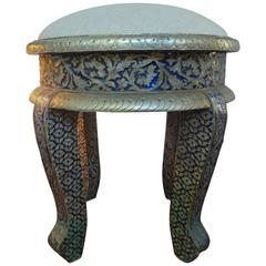 Anglo Indian Metal Clad Upholstered Ottoman