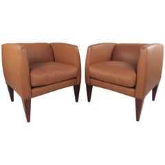 Pair of Contemporary Modern Italian Leather Club Chairs