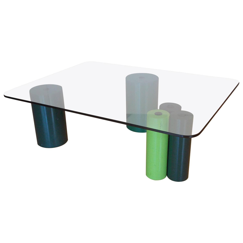 Sergio and Giorgio Saporiti Glass and Concrete Coffee Table For
