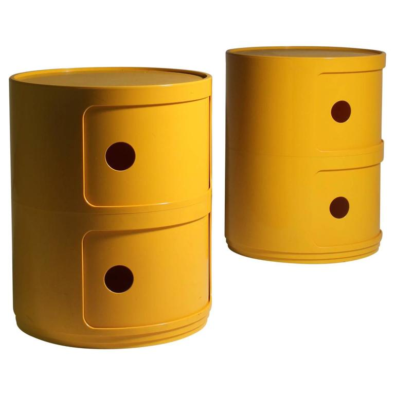 Pair Of Anna Castelli Kartell Yellow Stacking Storage Shelf Nightstands For  Sale