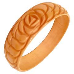 Vintage Bakelite Carved Butterscotch Bangle Bracelet
