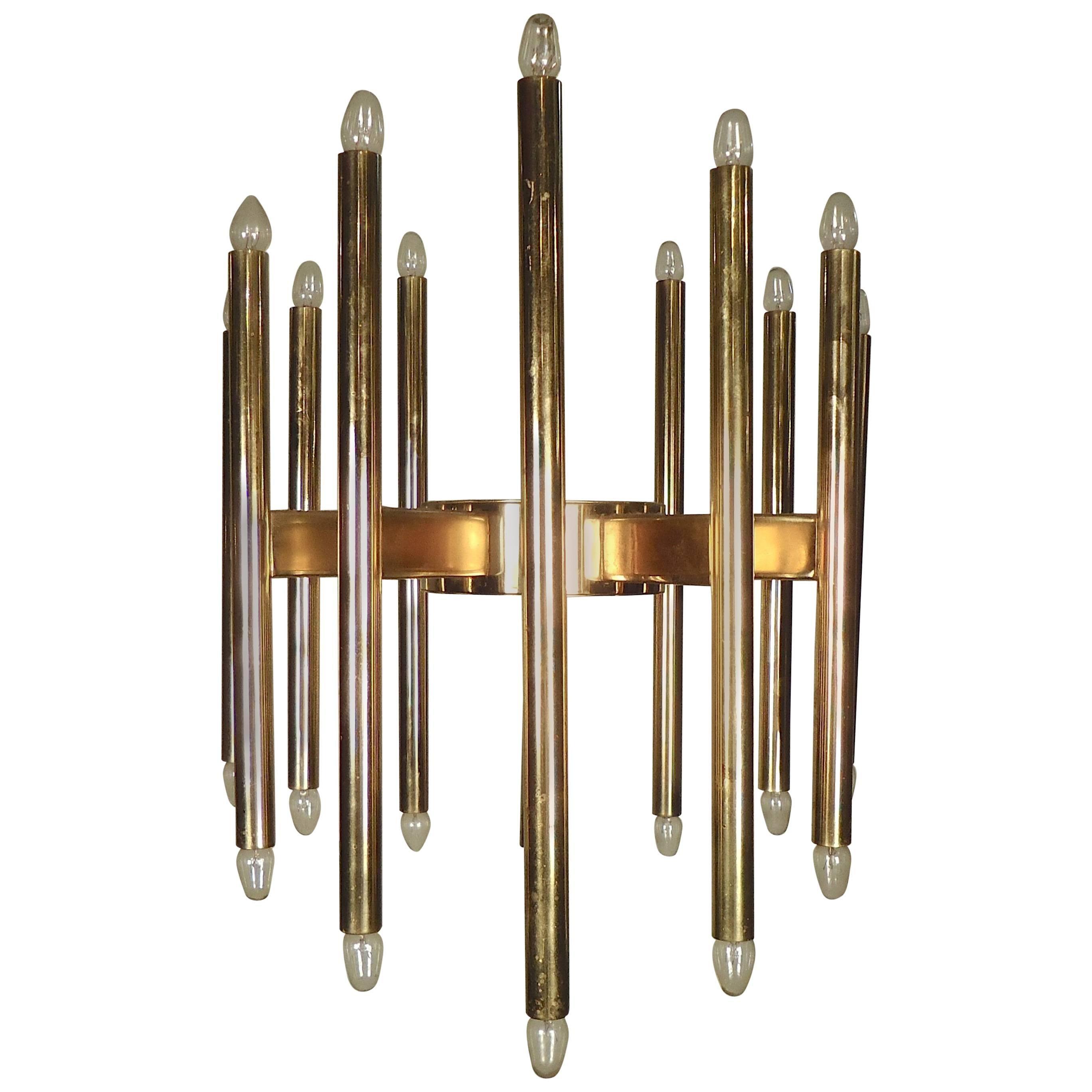 Mid-Century Sciolari Brass Chandelier