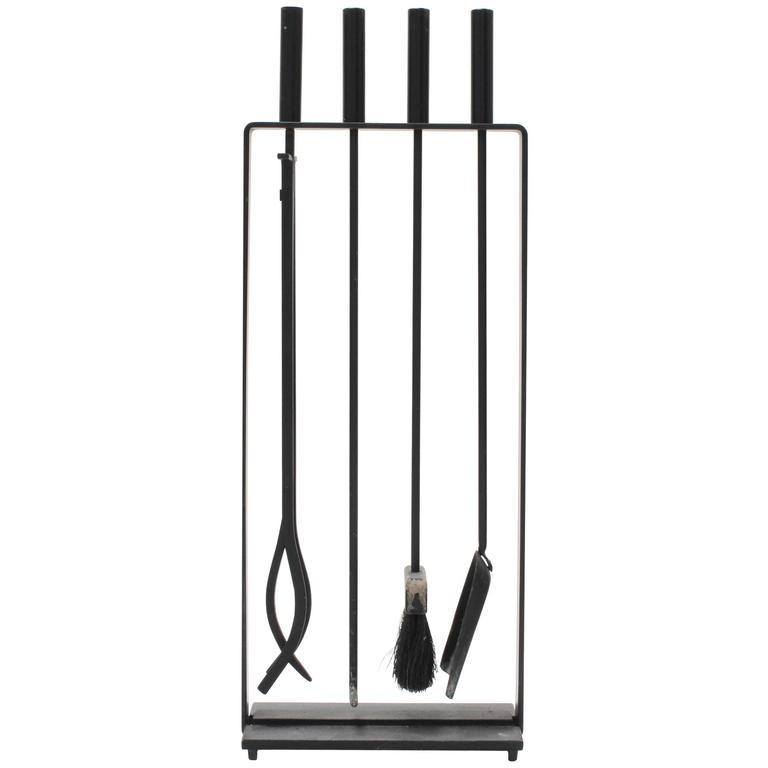 Vintage Modernist Black Cast Iron Fire Place Tool Set at