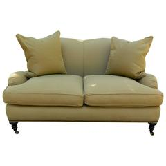 Upholstered Settee with Four Throw Pillows, 20th Century