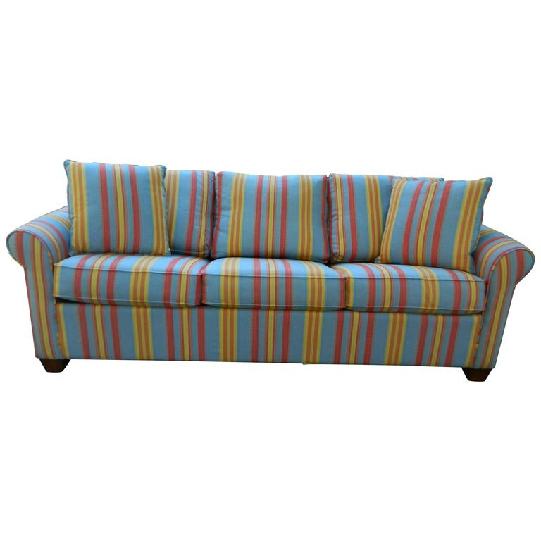 Upholstered Sofa Bed In A Multi Color Stripe Fabric 20th