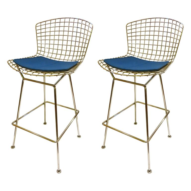 Pair Of Barstools Designed By Harry Bertoia For Knoll With