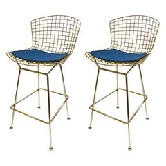 Pair of Barstools Designed by Harry Bertoia for Knoll with Blue Cloth Pads
