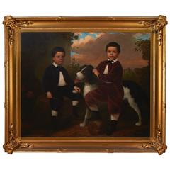 Alfred A. Hart, Impressive Large-Scale Oil on Canvas Family Portrait with Dog