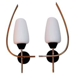 Beautiful and Elegant Pair of French Mid-Century Sconces by Maison Arlus