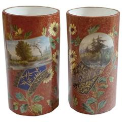 French Japonisme Faience Pair of Vases, Red Grounds Flecked with Gold