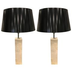 Pair of Travertine Lamps Manner of Robsjohn-Gibbings