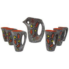 Vallauris Ceramic Pitcher with Six Cups Designed by Le Vaucour, France, 1950s