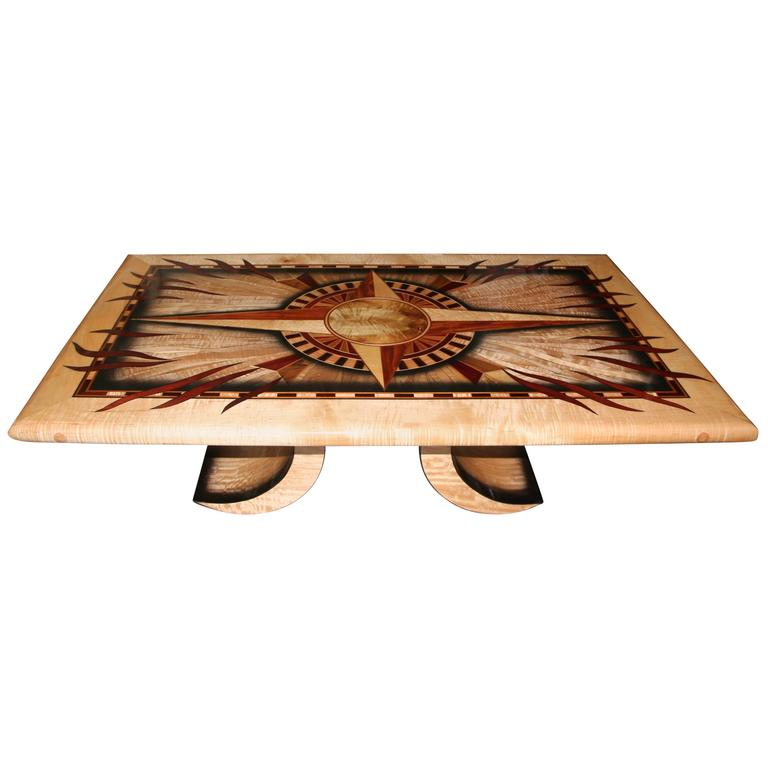 Exotic Glass Coffee Tables: Curtis Underwood Exotic Inlaid Cocktail Table At 1stdibs