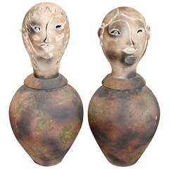 Spectacular Large Raku Pottery Vases with Busts as Tops