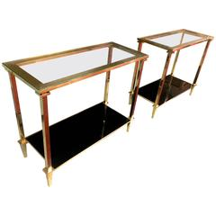 Refined Pair of Two Tiers Side Tables with Bronze Pure Hardware