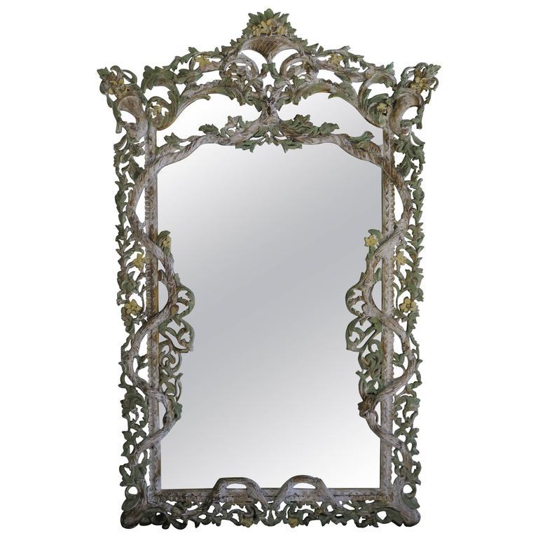 Monumental Carved Italian Painted Mirror