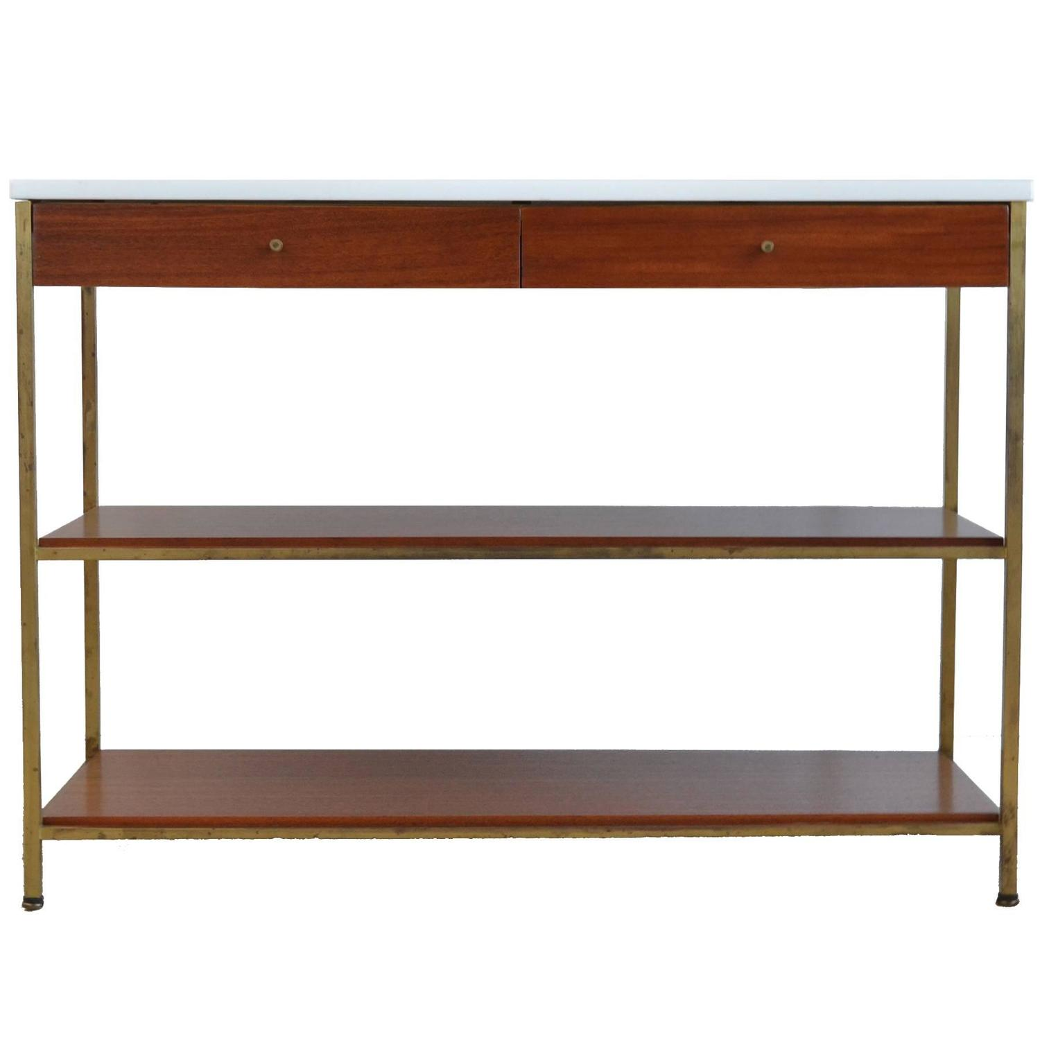 Paul McCobb Console Table with Vitrolite Top by Calvin at 1stdibs