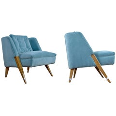 Restored Petit Cerused Compass Leg Bedroom Chairs in Cyan Blue Velvet, 1960s