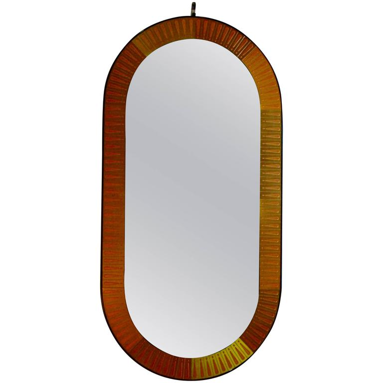 Oval Wall Mirror beautiful bijan brass and copper etched oval wall mirror for sale